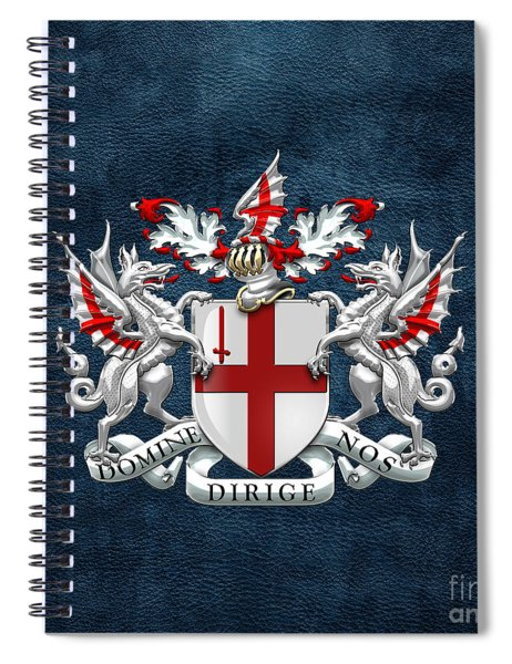 City Of London - Coat Of Arms Over Blue Leather  Spiral Notebook