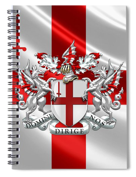 City Of London - Coat Of Arms Over Flag  Spiral Notebook