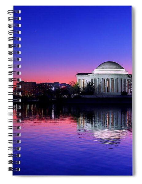 Clear Blue Morning At The Jefferson Memorial Spiral Notebook