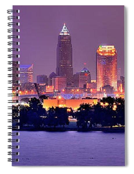 Cleveland Skyline At Night Evening Panorama Spiral Notebook