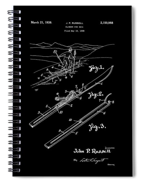 Climber For Skis 1939 Russell Patent Art Spiral Notebook