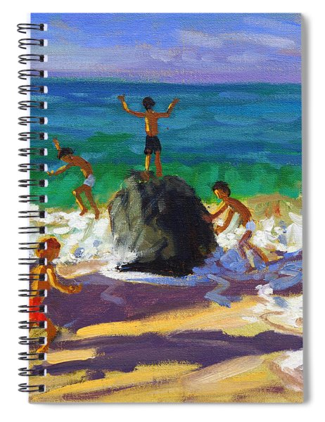 Climbing Rocks Porthmeor Beach St Ives Spiral Notebook by Andrew Macara