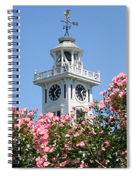 Clock Tower And Roses Spiral Notebook