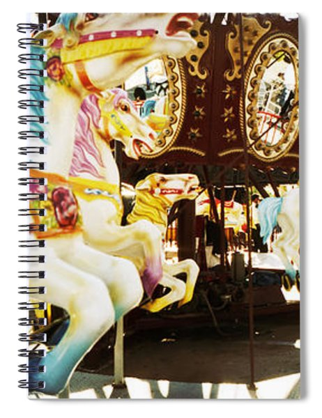 Close-up Of Carousel Horses, Coney Spiral Notebook