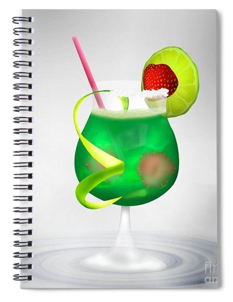 Cocktail Green Strawberry Spiral Notebook