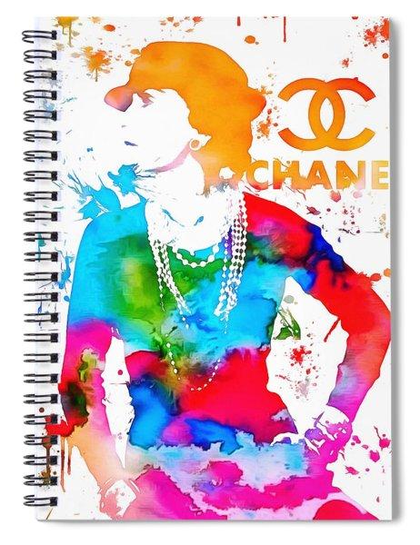 Coco Chanel Paint Splatter Spiral Notebook