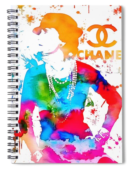 Coco Chanel Paint Splatter Spiral Notebook