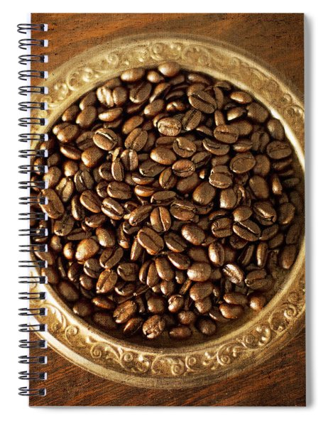 Coffee Beans On Antique Silver Platter Spiral Notebook