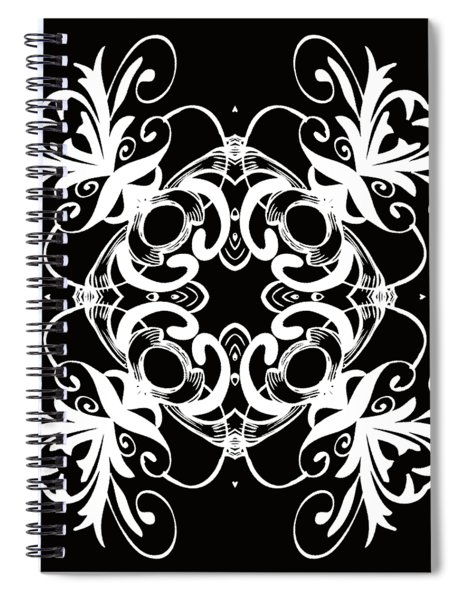 Coffee Flowers 1 Bw Ornate Medallion Spiral Notebook