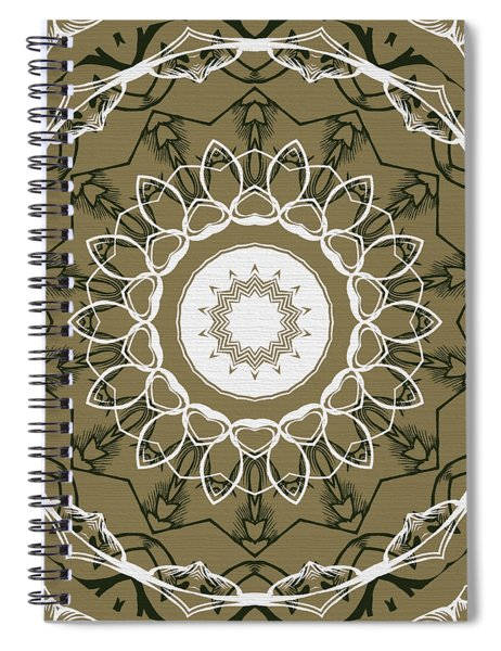 Coffee Flowers 1 Olive Ornate Medallion Spiral Notebook
