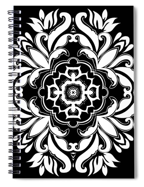 Coffee Flowers 10 Bw Ornate Medallion Spiral Notebook