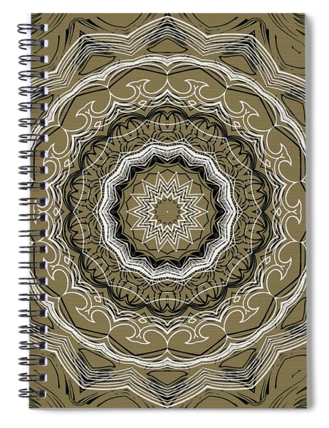 Coffee Flowers 2 Ornate Medallion Olive Spiral Notebook