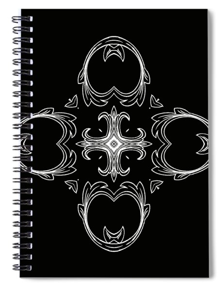 Coffee Flowers 3 Bw Ornate Medallion Spiral Notebook