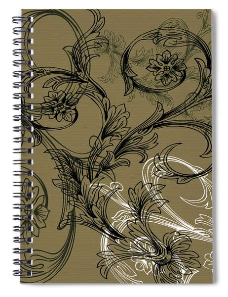 Coffee Flowers 3 Olive Spiral Notebook
