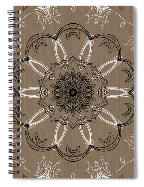 Coffee Flowers 3 Ornate Medallion Spiral Notebook