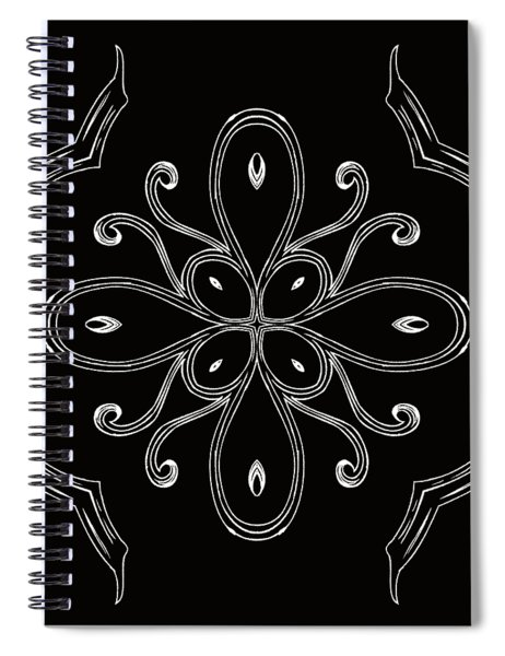Coffee Flowers 4 Bw Ornate Medallion Spiral Notebook