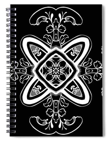 Coffee Flowers 5 Bw Ornate Medallion Spiral Notebook