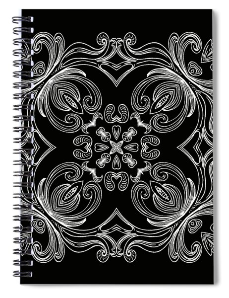 Coffee Flowers 6 Bw Ornate Medallion Spiral Notebook