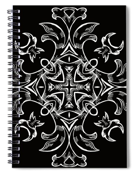 Coffee Flowers 7 Bw Ornate Medallion Spiral Notebook