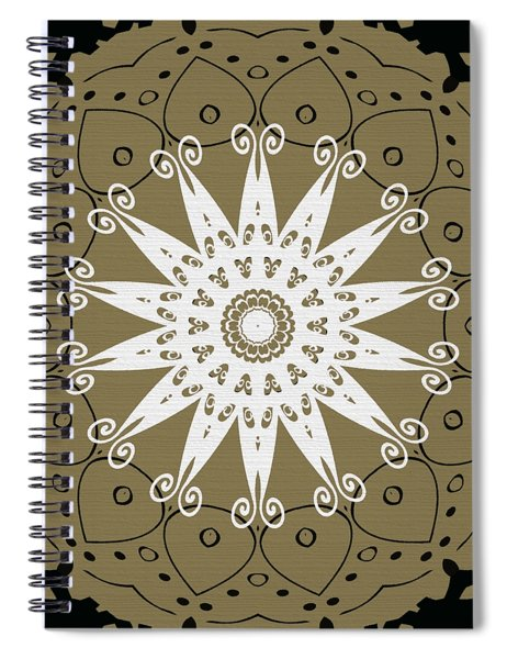 Coffee Flowers 9 Olive Ornate Medallion Spiral Notebook