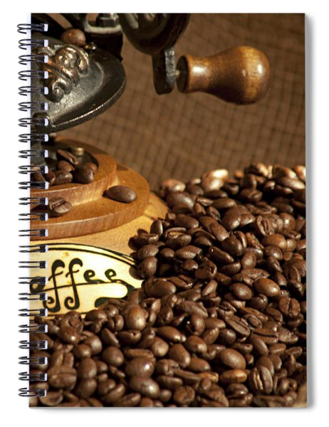 Coffee Grinder With Beans Spiral Notebook