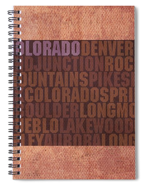 Colorado Word Art State Map On Canvas Spiral Notebook