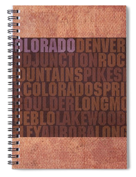 Colorado Word Art State Map On Canvas Spiral Notebook by Design Turnpike
