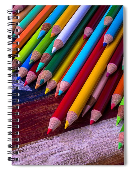 Colored Pencils On Wooden Flag Spiral Notebook