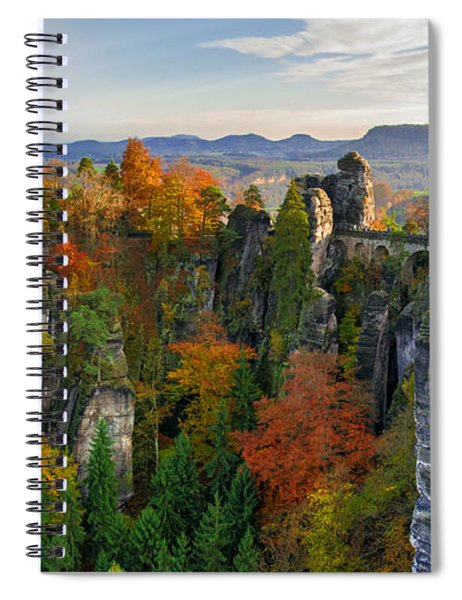 Colorful Bastei Bridge In The Saxon Switzerland Spiral Notebook