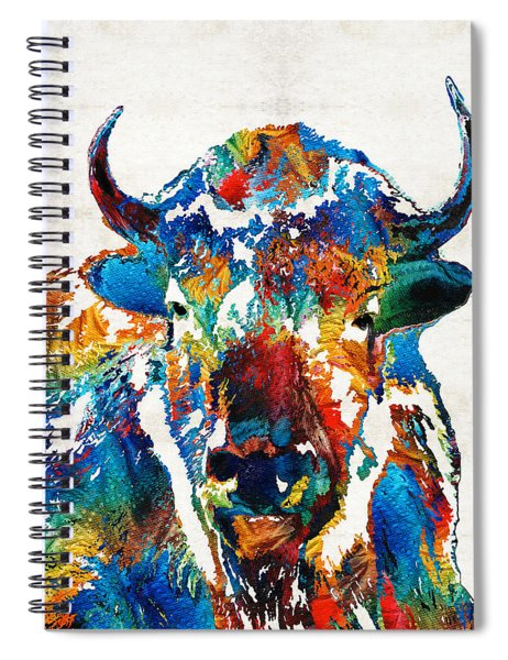 Colorful Buffalo Art - Sacred - By Sharon Cummings Spiral Notebook