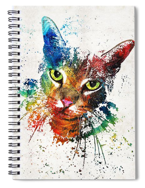Colorful Cat Art By Sharon Cummings Spiral Notebook