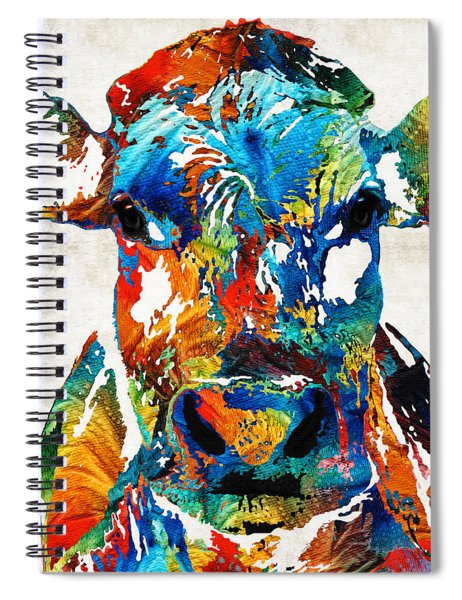 Colorful Cow Art - Mootown - By Sharon Cummings Spiral Notebook