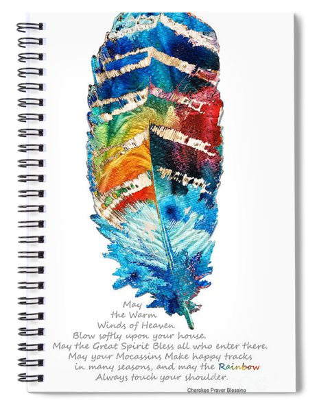Colorful Feather Art - Cherokee Blessing - By Sharon Cummings Spiral Notebook