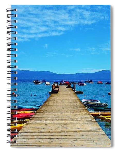 Colorful Kayaks At The Pier Spiral Notebook