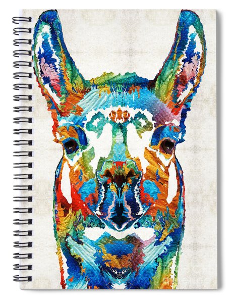 Colorful Llama Art - The Prince - By Sharon Cummings Spiral Notebook