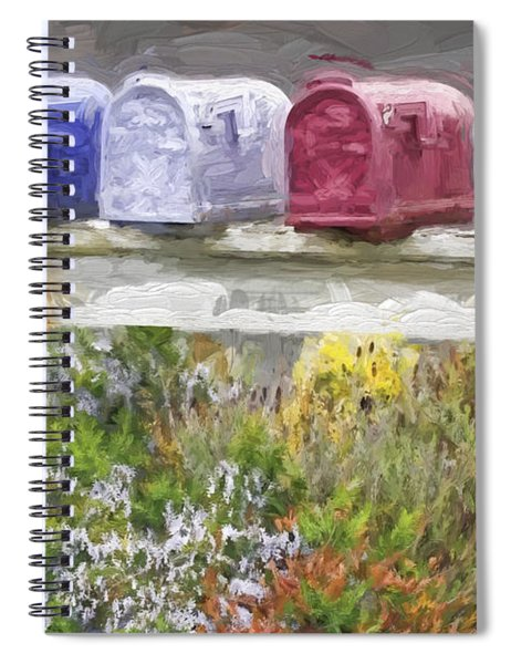 Colorful Mailboxes And Flowers Painterly Effect Spiral Notebook