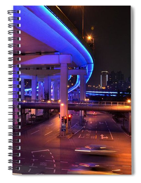 Colorful Night Traffic Scene In Shanghai China Spiral Notebook