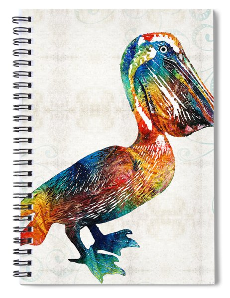 Colorful Pelican Art 2 By Sharon Cummings Spiral Notebook
