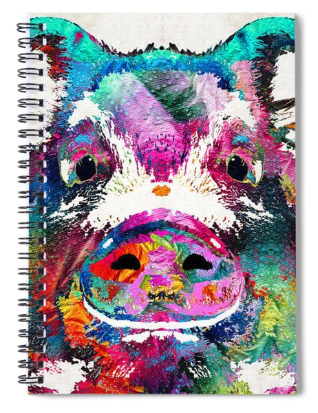 Colorful Pig Art - Squeal Appeal - By Sharon Cummings Spiral Notebook