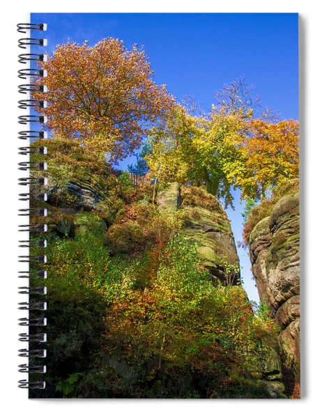 Colorful Trees In The Elbe Sandstone Mountains Spiral Notebook