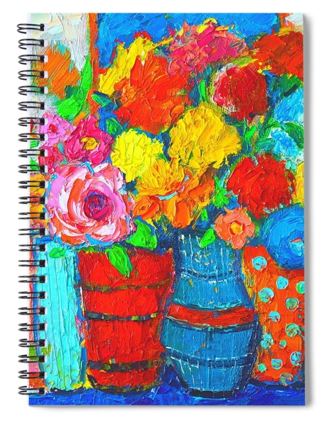 Colorful Vases And Flowers - Abstract Expressionist Painting Spiral Notebook