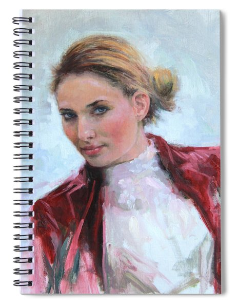 Come A Little Closer Young Woman Portrait Spiral Notebook