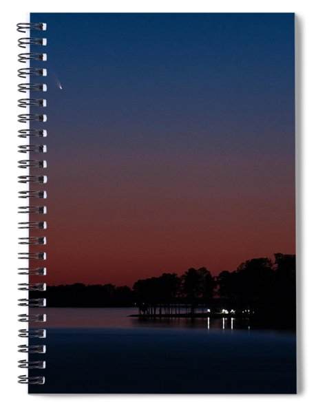 Comet Panstarrs And Crescent Moon Spiral Notebook