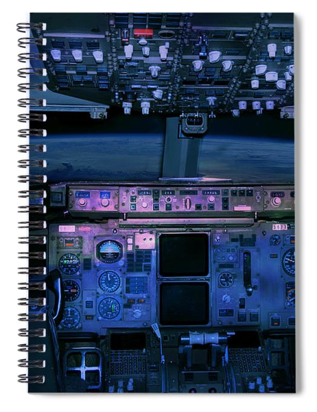 Commercial Airplane Cockpit By Night Spiral Notebook