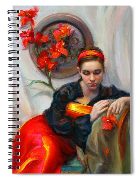 Common Threads - Divine Feminine In Silk Red Dress Spiral Notebook