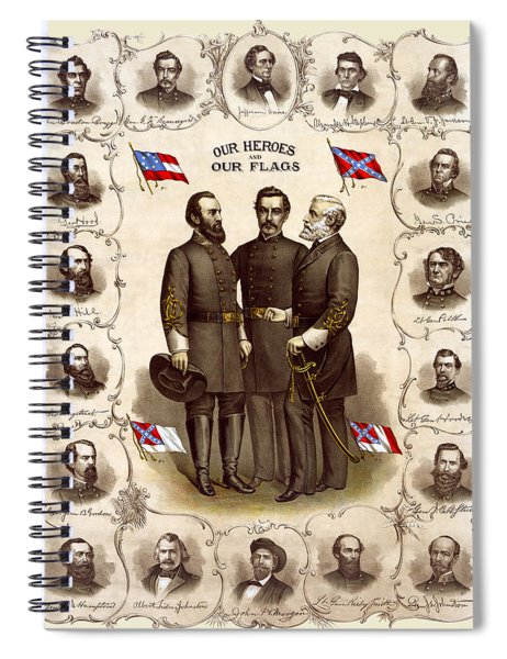 Confederate Generals And Flags Spiral Notebook