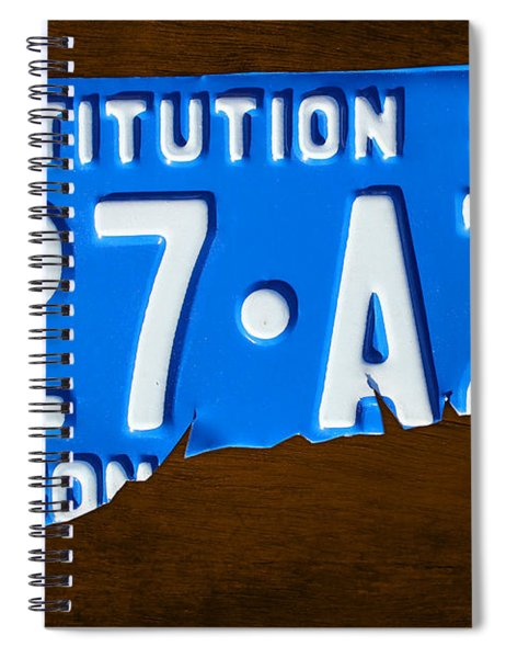 Connecticut State License Plate Map Spiral Notebook