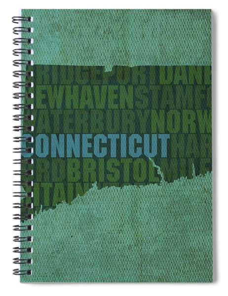 Connecticut Word Art State Map On Canvas Spiral Notebook by Design Turnpike