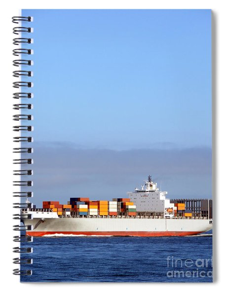 Container Ship At Sea Spiral Notebook