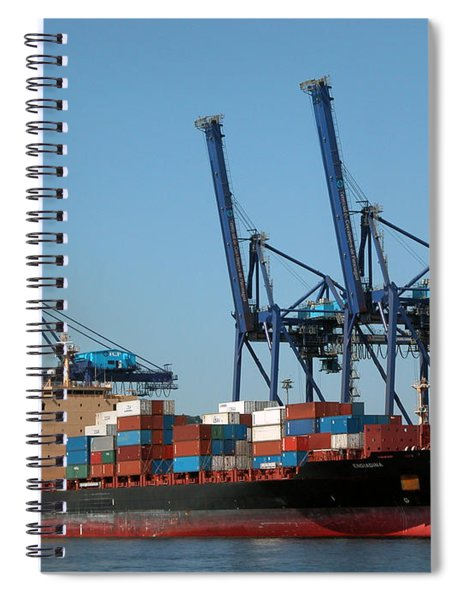 Container Ship In Port Spiral Notebook